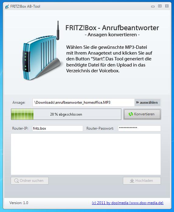 Fritz!Box AB Tools zur Umwandlung von Anrufbeantworter-Ansagen