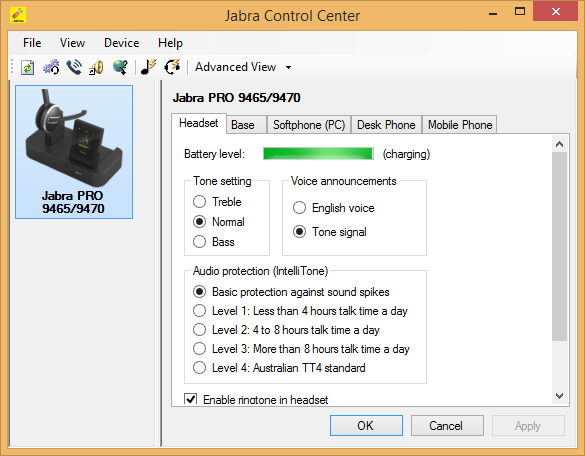 Jabra PC Suite - Control Center