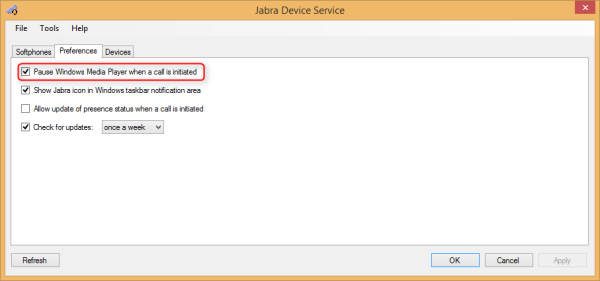 Jabra PC Suite - Device Service Preferences