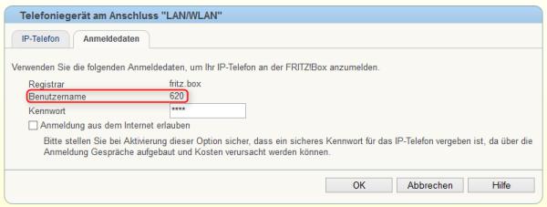 Fritz!Box IP Telefon Benutzerkennung