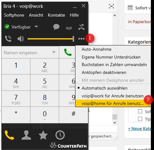 Bria - Telefonleitung auswählen