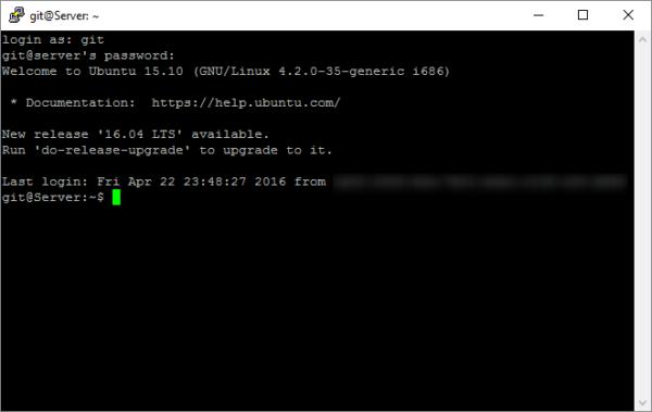 SSH-Zugriff über Putty auf den Git-Server